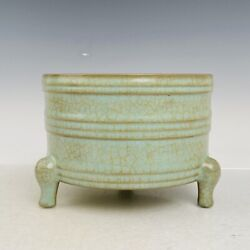 7.4 Chinese Antique Song Dynasty Ru Kiln Museum Mark Porcelain Three Legs Pot