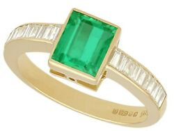 Vintage 1.10 Ct Emerald And 0.45 Ct Diamond 18 Ct Yellow Gold Ring 1988