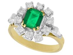 Vintage Emerald And Diamond 18k Yellow Gold Cluster Ring