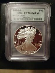 1986- S Icg- Pr70 Dcam Proof Silver Eagle, Rare, First Year Produced