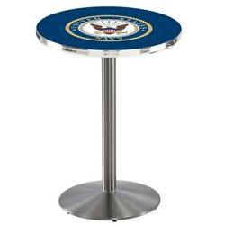 Holland Bar Stool Co. L214s3636navy 36 Stainless Steel U.s. Navy Pub Table,36