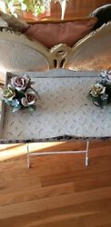Vintage Metal Roses Tray Table, Ivory Rose Coffee Table Folding Plant Stand Tole