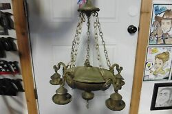 Vintage Chandelier Solid Copper Brass Gothic Victorian Country Western Lamp