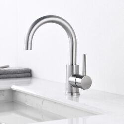 Kitchen Sink Faucet Swivel Single Hole Stainless Steel Mixer Tap Brushed Nickel