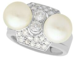 Cultured Pearl And 0.52 Ct Diamond 18k White Gold Dress Ring Art Deco Vintage
