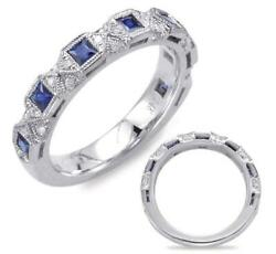 .83ct Diamond And Aaa Sapphire 14kt White Gold Round And Princess Filigree Fun Ring