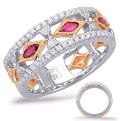 Wide .65ct Diamond And Aaa Ruby 14kt White Rose Gold 3/4 Eternity Anniversary Ring