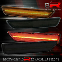 For 2010-2014 Ford Mustang Smoke Lens Led Front Amber Red Rear Side Markers Set