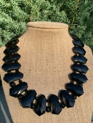 Victorian Black French Jet Glass Faceted Beaded Bib Necklace - Mourning Jewelry
