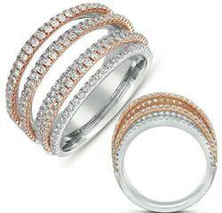 Large 1.23ct Diamond 14kt White And Rose Gold 3d Multi Row Criss Cross Love Ring