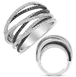 Large 1.56ct White And Black Diamond 14kt White Gold 3d Multi Row Criss Cross Ring