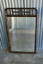 Vintage Chinese Chippendale Tortoise Shell Faux Rattan Wood Mirror