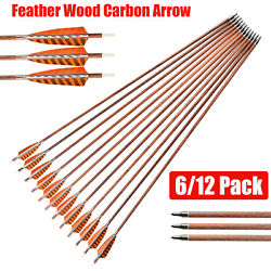 30 Feather Carbon Arrows Sp400 Wooden Skin Shaft Archery Bow Target Shooting
