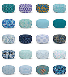 Ambesonne Blue Ottoman Pouf Decor Soft Foot Rest And Removable Cover
