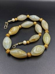 Old Ancient Antique Himalayan Indo Tibetan Solumani Banded Beads Mala Necklace