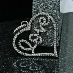 Valentine Gifts Pave Diamond Love Symbol Heart Necklace Pendent In 925 Silver