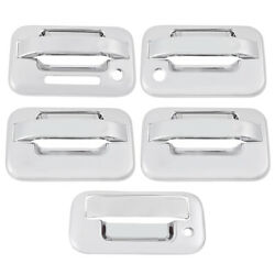 5pc Chrome Door Handle Cover Keypad Exterior Door Handles For Ford F-150 04-14
