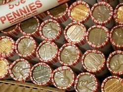 100 Rolls Of Copper Pennies 1982 + Older. Lincoln Penny Machine Rolled Cents