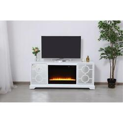 White And Mirrored Tv Stand Crystals Fireplace Insert Combo Storage Cabinet 60