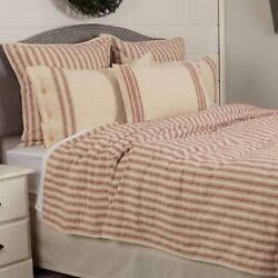 Piper Classics Market Place Red Ticking Stripe Quilt Luxury King 105 X 120