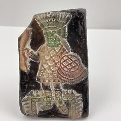 Aztec Mayan Style Terracotta Clay Stamp Warrior With Shield Figural Handle