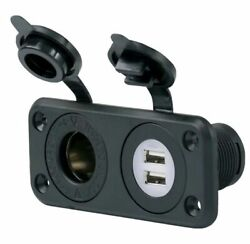 Marinco Dual Usb And 12v Receptacle W/ Mounting Plate - 12vcombo-b 093344060069