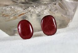 Natural Red Spinel Cabochon 13x10 Mm Oval Pair 11.41 Carats Gemstone For Earring