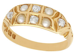 1880s Antique Victorian Seed Pearl And Diamond Yellow Gold Dress Ring Size N 1/2