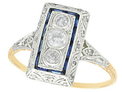 Antique Diamond And Sapphire, 14 Carat Yellow Gold Dress Ring, 1920s, Size Q 1/2