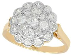 Antique 1930 0.83 Ct G Diamond 18carat Yellow Gold Cluster Ring Size P 1/2