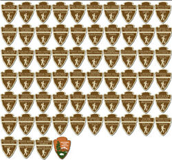 Sheet Of 1.5 Inch Tall All 63 Arrowhead Shaped National Park Stickers Small Rv
