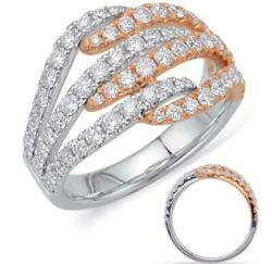 Wide 1.11ct Diamond 14kt White And Rose Gold 3d Criss Cross Semi Eternity Fun Ring
