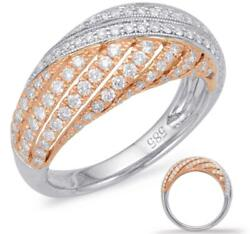 Wide .73ct Diamond 14kt White And Rose Gold Multi Row Criss Cross Dome Shape Ring
