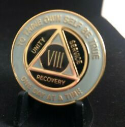 8 Year Grey Black And Gold Aa Medallion -- Alcoholics Anonymous Chip