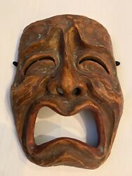 Vintage Traditional Clay Japanese Noh Omote Kumorasu Mask With Makers Mark