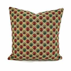 Brunschwig amp; Fils Oatlands Tapestry in Green and Rust Pillow Cover 20quot; x 20quot;