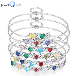 Personalized Women Bracelets Birthstone Engraved 2 7 Names Charms Bangle Anklet $13.99
