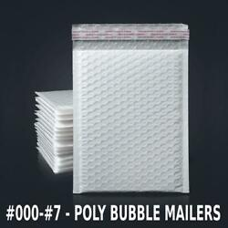 000 - 7 Poly Bubble Mailers Shipping Mailing Padded Bags Envelopes White