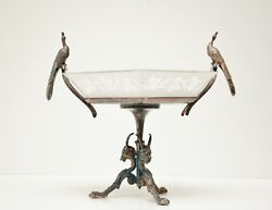 Vtg Meriden Britannia Art Nouveau Peacock And Goat Footed Silverplate Stand-rare