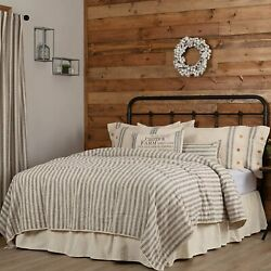 Piper Classics Market Place Gray Ticking Stripe Quilt Luxury King 105 X 120