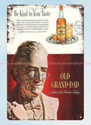 Wall Art Old Grand Dad Bourbon Whiskey From 1949 Bottle And Man Metal Tin Sign