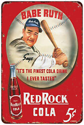 Babe Ruth Red Rock Cola Retro Vintage Reproduction Metal Tin Sign 8 X 12