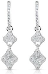 .88ct Diamond 14kt White Gold 3d Double 4 Leaf Clover Love Knot Hanging Earrings