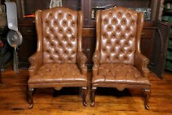 Vintage Brown Wing Back Chairs Tufted Chesterfield Banker Chair Cigar Lounge