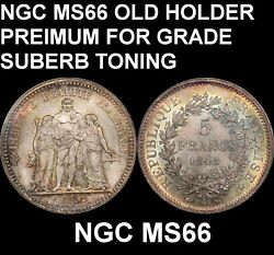 Ngc Ms66 France 1848 5 Francs-very Old Slab-upgrade-great Multi Color Toning