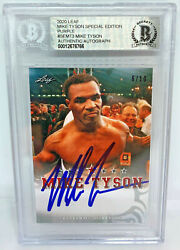 Mike Tyson Signed Leaf Trading Card Semt3 Beckett Bas Le 10 Purple Authentic