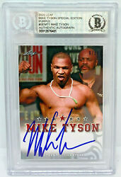 Mike Tyson Signed Leaf Trading Card Semt1 Le 10 Purple Beckett Bas Authentic
