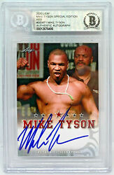 Mike Tyson Signed Leaf Trading Card Semt1 Le 5 Red Beckett Bas Authentic