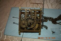 Antique Cuckoo Clock Movement With 2 Chains Only For Parts Or Project