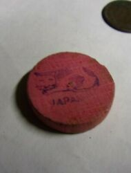 VINTAGE WOOD DISK 1quot; CAT amp; JAPAN STAMPED ON FACE PARTIAL HOLE ON BACK ?